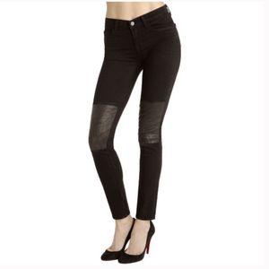 J Brand Vicious Beatnik Skinny Leather Patch Jeans